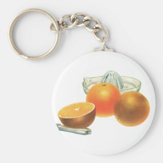 Vintage Food Fruit, Ripe Oranges Juicer Breakfast Basic Round Button Keychain