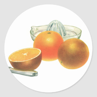 Vintage Food Fruit, Ripe Oranges Juicer Breakfast Classic Round Sticker