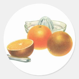 Vintage Food Fruit, Ripe Oranges Juicer Breakfast Classic Round Sticker