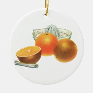 Vintage Food Fruit, Ripe Oranges Juicer Breakfast Double-Sided Ceramic Round Christmas Ornament