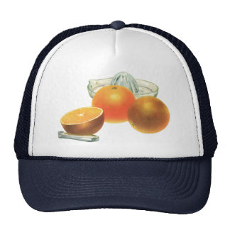 Vintage Food Fruit, Ripe Oranges Juicer Breakfast Hats
