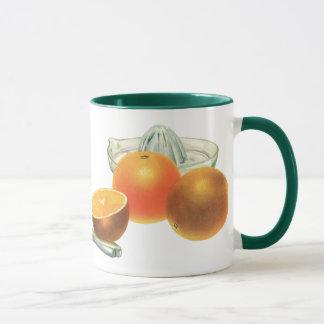 Vintage Food Fruit, Ripe Oranges Juicer Breakfast Mug