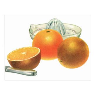 Vintage Food Fruit, Ripe Oranges Juicer Breakfast Postcard