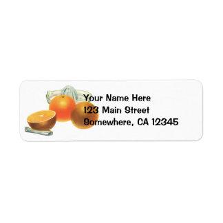 Vintage Food Fruit, Ripe Oranges Juicer Breakfast Return Address Label