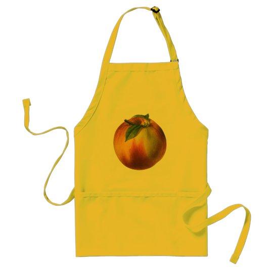 Vintage Food Fruit, Ripe Organic Peach with Leaf Adult Apron