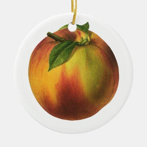 Vintage Food Fruit, Ripe Organic Peach with Leaf Ceramic Ornament