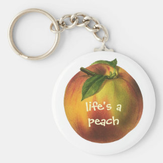 Vintage Food Fruit, Ripe Organic Peach with Leaf Keychain