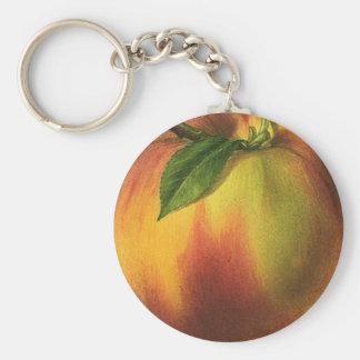 Vintage Food Fruit, Ripe Organic Peach with Leaf Keychain