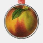 Vintage Food Fruit, Ripe Organic Peach with Leaf Metal Ornament