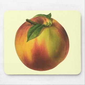 Vintage Food Fruit, Ripe Organic Peach with Leaf Mouse Pad