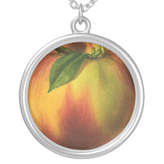Vintage Food Fruit, Ripe Organic Peach with Leaf Silver Plated Necklace