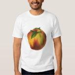 Vintage Food Fruit, Ripe Organic Peach with Leaf T Shirt