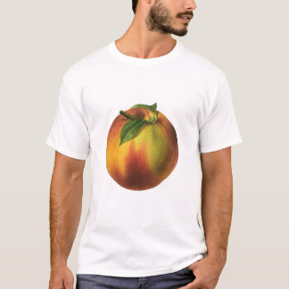 Vintage Food Fruit, Ripe Organic Peach with Leaf T-Shirt