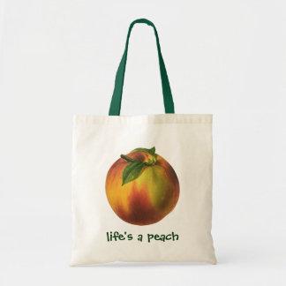 Vintage Food Fruit, Ripe Organic Peach with Leaf Tote Bag