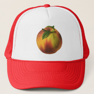 Vintage Food Fruit, Ripe Organic Peach with Leaf Trucker Hat