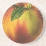 Vintage Food Fruit, Round Ripe Peach with Leaf Drink Coaster