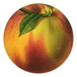 Vintage Food Fruit, Round Ripe Peach with Leaf Custom Invitation