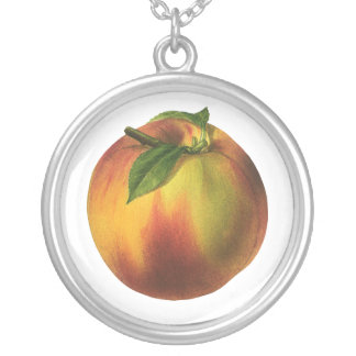 Vintage Food Fruit, Round Ripe Peach with Leaf Jewelry