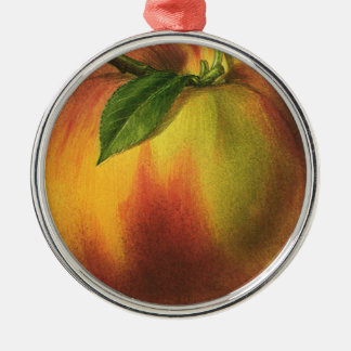 Vintage Food Fruit, Round Ripe Peach with Leaf Round Metal Christmas Ornament