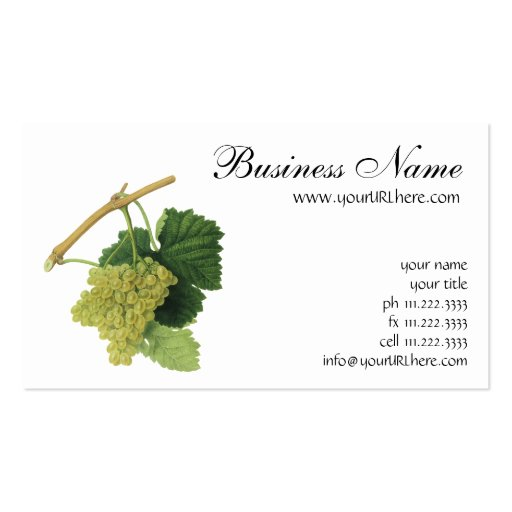 Vintage Food Fruit, White Wine Grapes on the Vine Business Cards