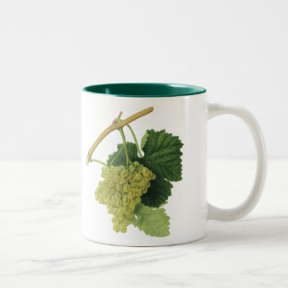 Vintage Food Fruit, White Wine Grapes on the Vine Two-Tone Coffee Mug