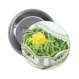 Vintage Food, Green Bean Casserole with Butter Pinback Buttons