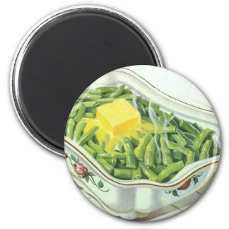 Vintage Food, Green Bean Casserole with Butter 2 Inch Round Magnet