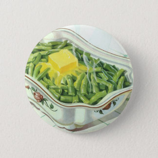 Vintage Food, Green Bean Casserole with Butter Pinback Button