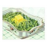 Vintage Food, Green Bean Casserole with Butter Postcard
