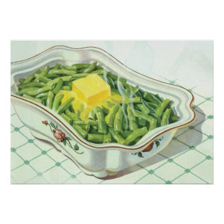 Vintage Food, Green Bean Casserole with Butter Poster