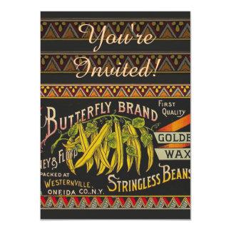 Vintage Food Green Bean Vegetable Advertising 4.5x6.25 Paper Invitation Card