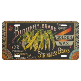 Vintage Food Green Bean Vegetable Advertising License Plate