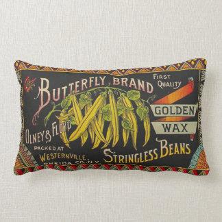 Vintage Food Green Bean Vegetable Advertising Lumbar Pillow