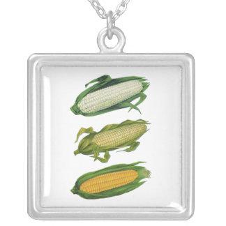 Vintage Food Healthy Vegetables, Fresh Corn on Cob Square Pendant Necklace