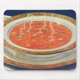 Vintage Food, Hot Bowl of Tomato Soup with Peas Mouse Pad