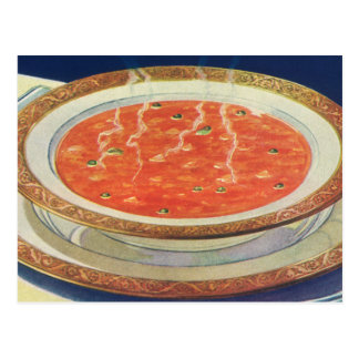 Vintage Food, Hot Bowl of Tomato Soup with Peas Postcard