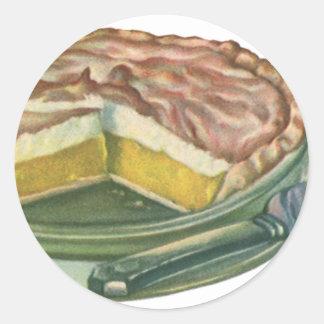 Vintage Food, Lemon Meringue Pie Dessert Classic Round Sticker