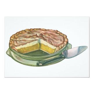 Vintage Food, Lemon Meringue Pie Dessert 5x7 Paper Invitation Card