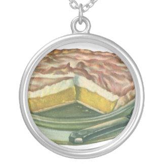 Vintage Food, Lemon Meringue Pie Dessert Round Pendant Necklace