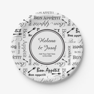 Vintage Food Lover's Wedding Wishes Bon Appetit Paper Plate