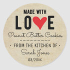 Vintage Food Made with Love From The Kitchen of Classic Round Sticker