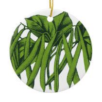 Vintage Food, Organic Green Beans Vegetables Ceramic Ornament