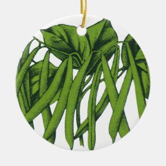 Vintage Food, Organic Green Beans Vegetables Ceramic Ornament