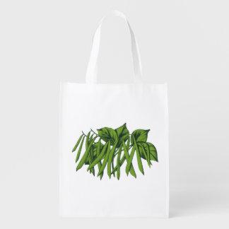 Vintage Food, Organic Green Beans Vegetables Reusable Grocery Bag