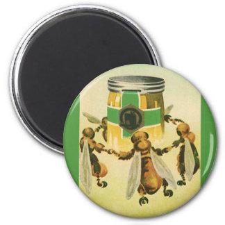 Vintage Food, Organic Honey Bees Dancing Jar 2 Inch Round Magnet
