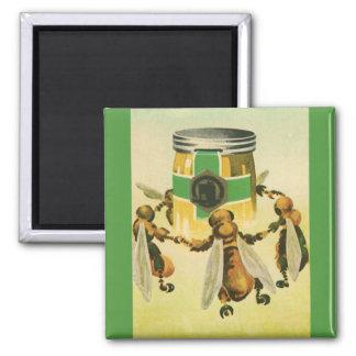Vintage Food, Organic Honey Bees Dancing Jar 2 Inch Square Magnet