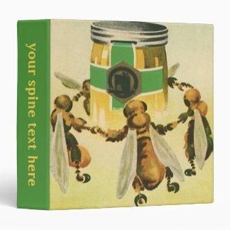 Vintage Food, Organic Honey Bees Dancing Jar 3 Ring Binder