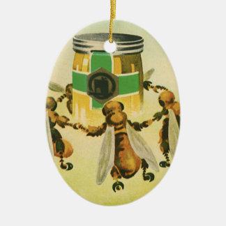 Vintage Food, Organic Honey Bees Dancing Jar Ceramic Ornament