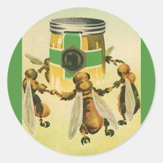 Vintage Food, Organic Honey Bees Dancing Jar Classic Round Sticker