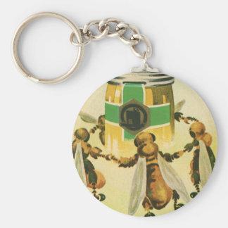 Vintage Food, Organic Honey Bees Dancing Jar Keychain
